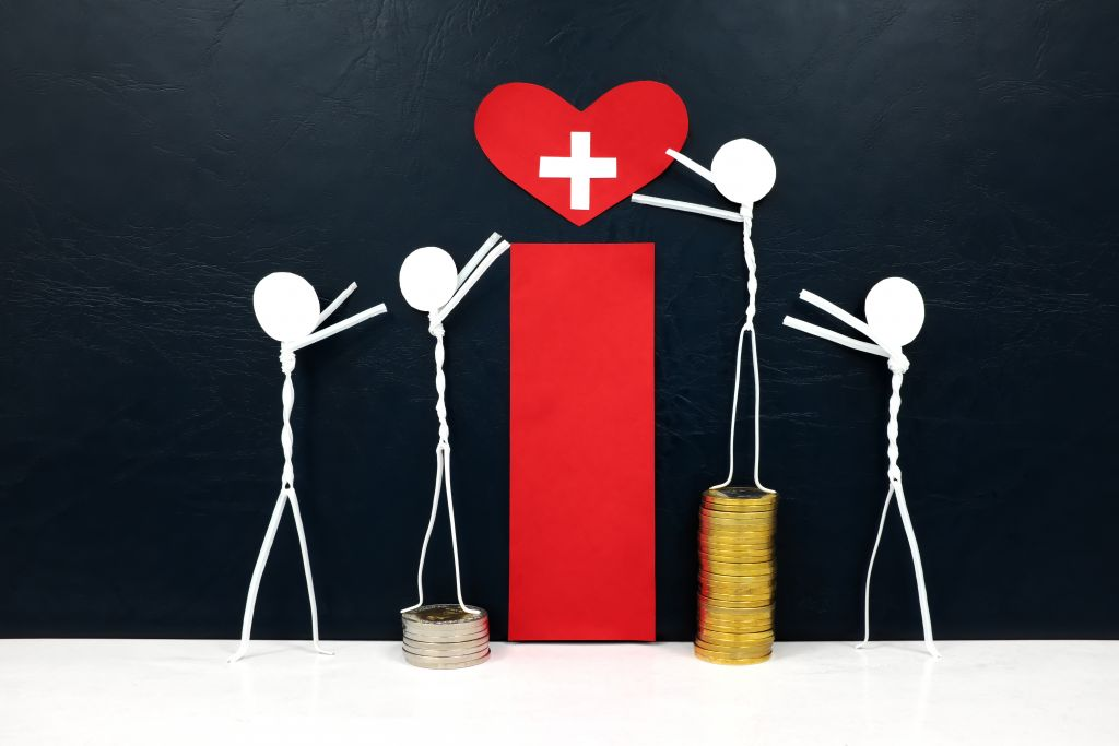 stick figure reaching for a red heart shape with cross cutout while stepping on stack of coins. healthcare, medical care and hospital access inequality concept.