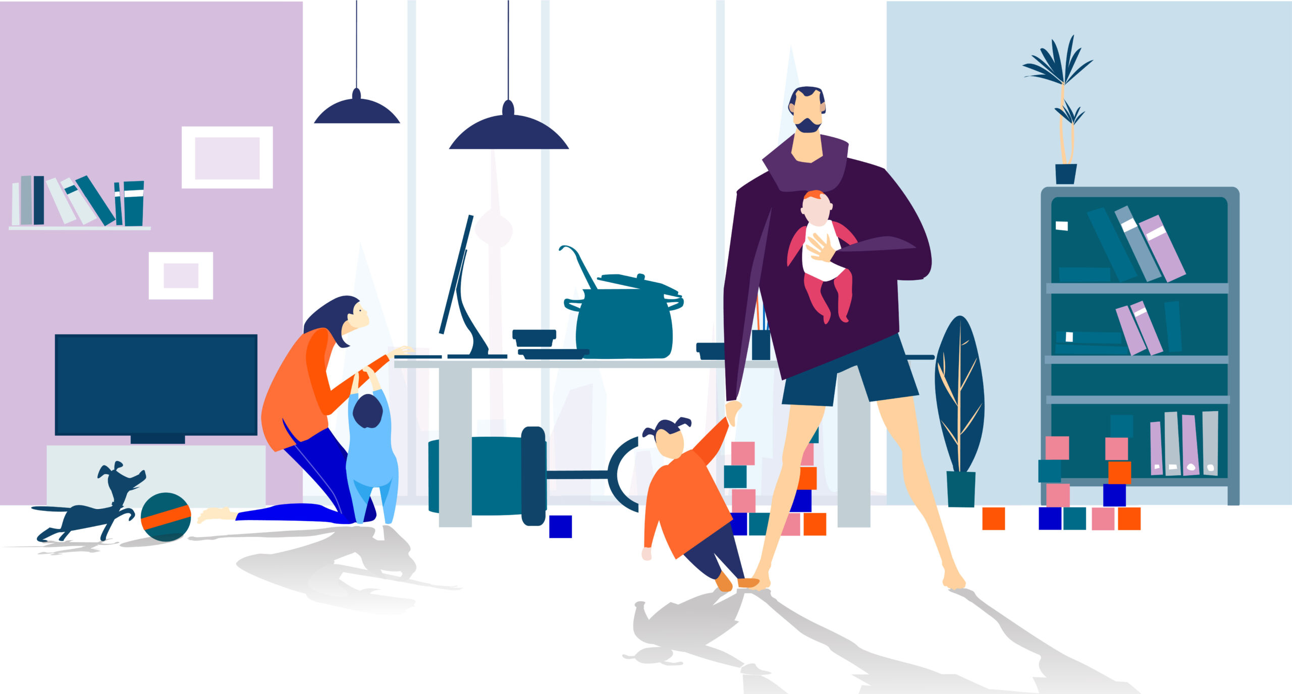 working from home concept illustration. lockdown, family stuck in home with kids during quarantine. plan your day. freelance. work from home. home office, remote working.