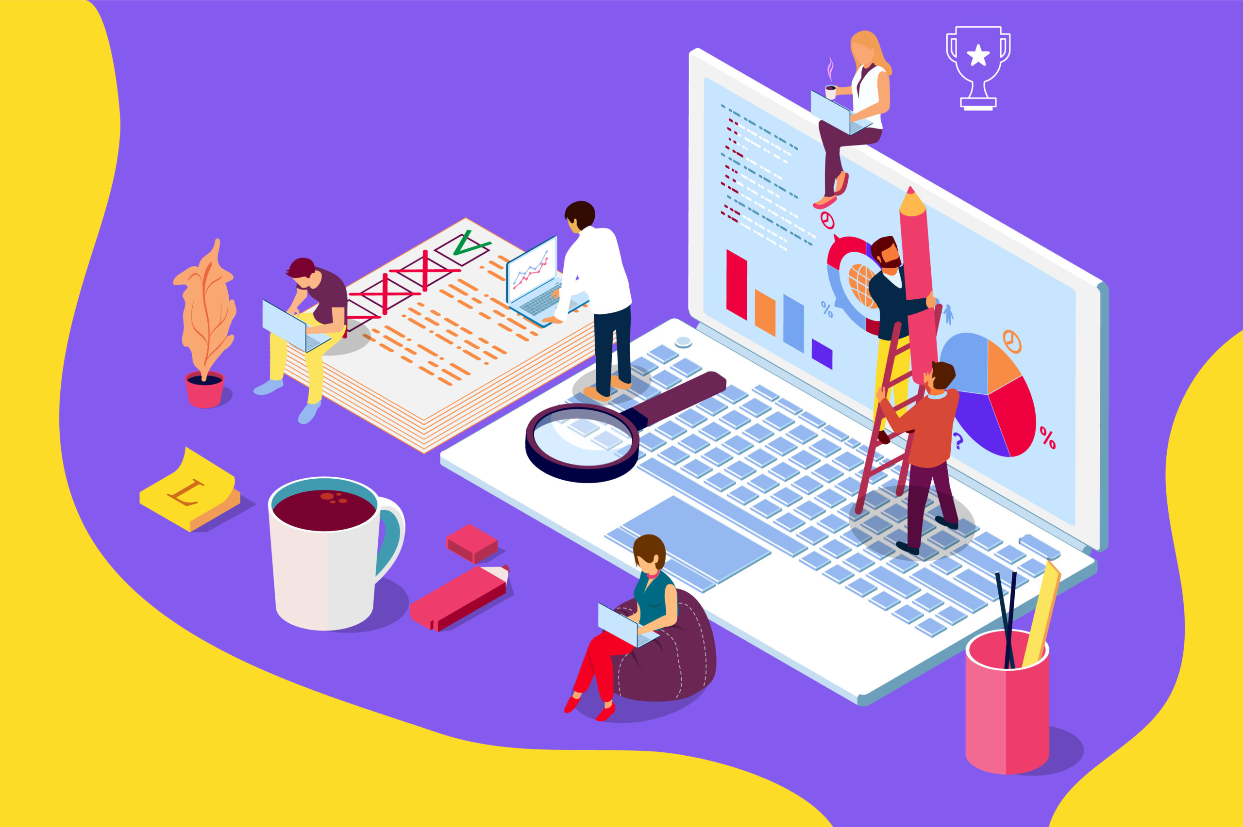 online review concept with characters. can use for web page, banner, social media, documents, cards, posters. flat isometric illustration